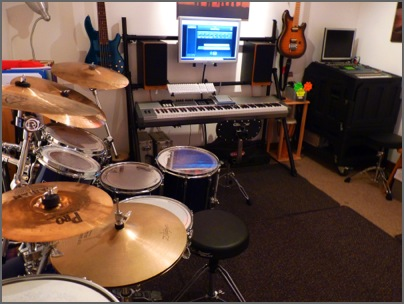Camberley drum teacher studio side